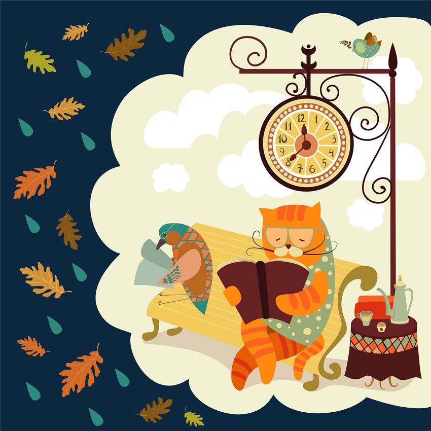 Vector cat and bird sitting on bench, reading books, under the clock